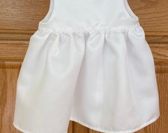 Preemie Satin Dress, Preemie White Dress, Preemie Crocheted Sweater, Preemie Special Occasion Dress, 6 pounds