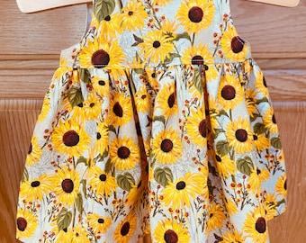Preemie Sunflower Dress, Preemie Girl Dress, Preemie Baby Dress, 4-5 pounds, 6 pounds