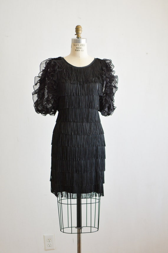 Vintage black 1980's ruffled dress puffer shoulder