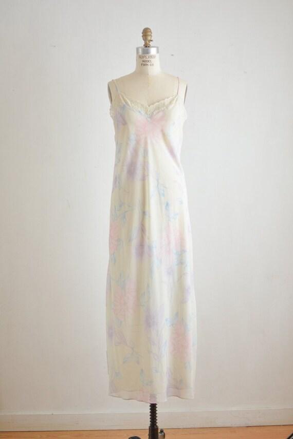 Vintage 1990's slip dress floral white gown purple