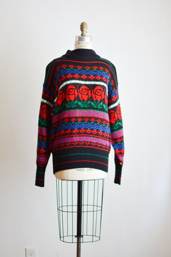 Vintage sweater roses novelty print mohair size La