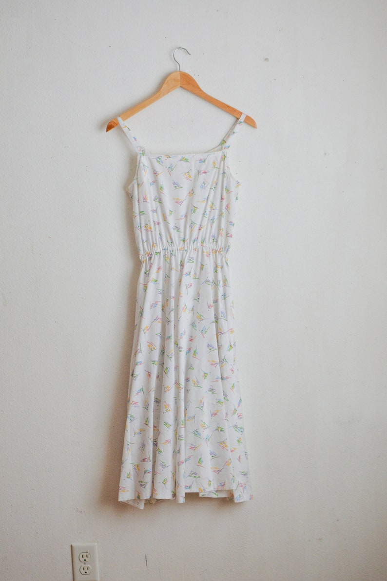 Vintage white dress 1970/'s fit and flared unicorn pastel color size small pin up style