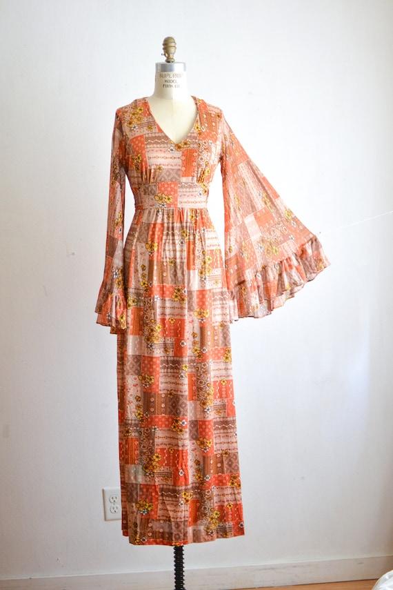 Vintage 1970's boho maxi dress bell sleeves dramat