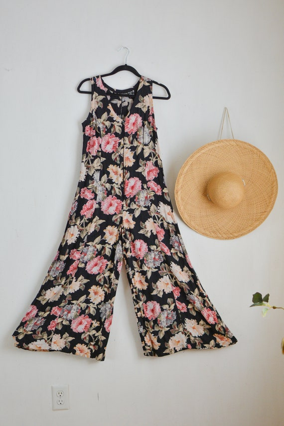 Vintage 1990's floral jumpsuit -small rayon Starin