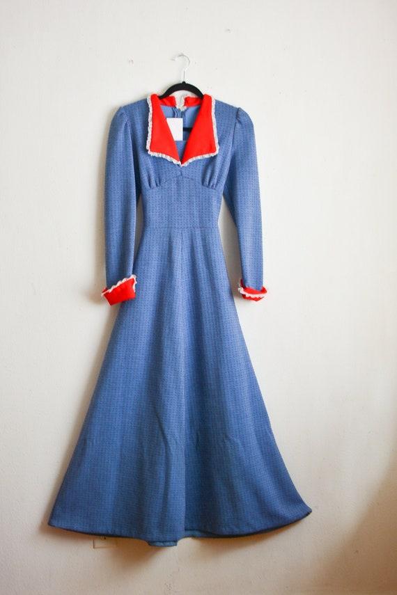 Vintage 1970's blue maxi dress romantic gunne sax