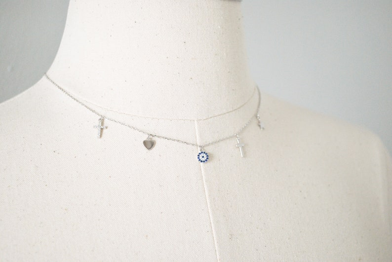 Sterling Silver,Cross Necklace,Evil Eye,Evil Eye Necklace,Dainty Necklace,Minimalist Necklace,Layered Necklace,Gift for Girlfriend,Amulet