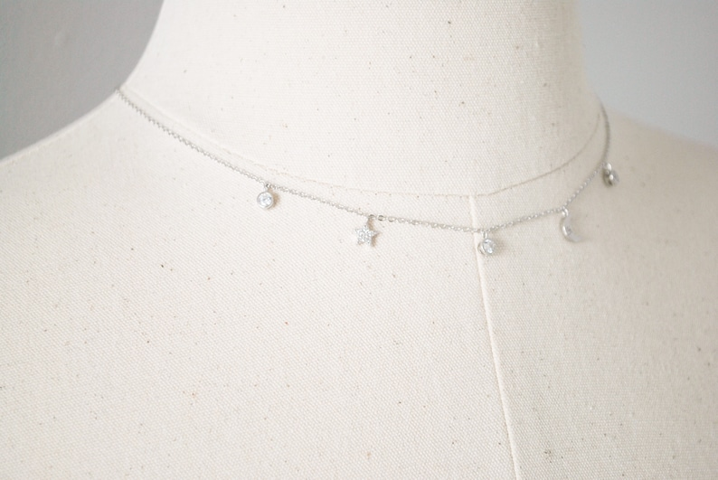 Moon and Star Necklace Celestial Jewelry Crescent Moon Necklace Dainty Star Necklace Star Choker Star Charm Necklace Moon Phase Necklace