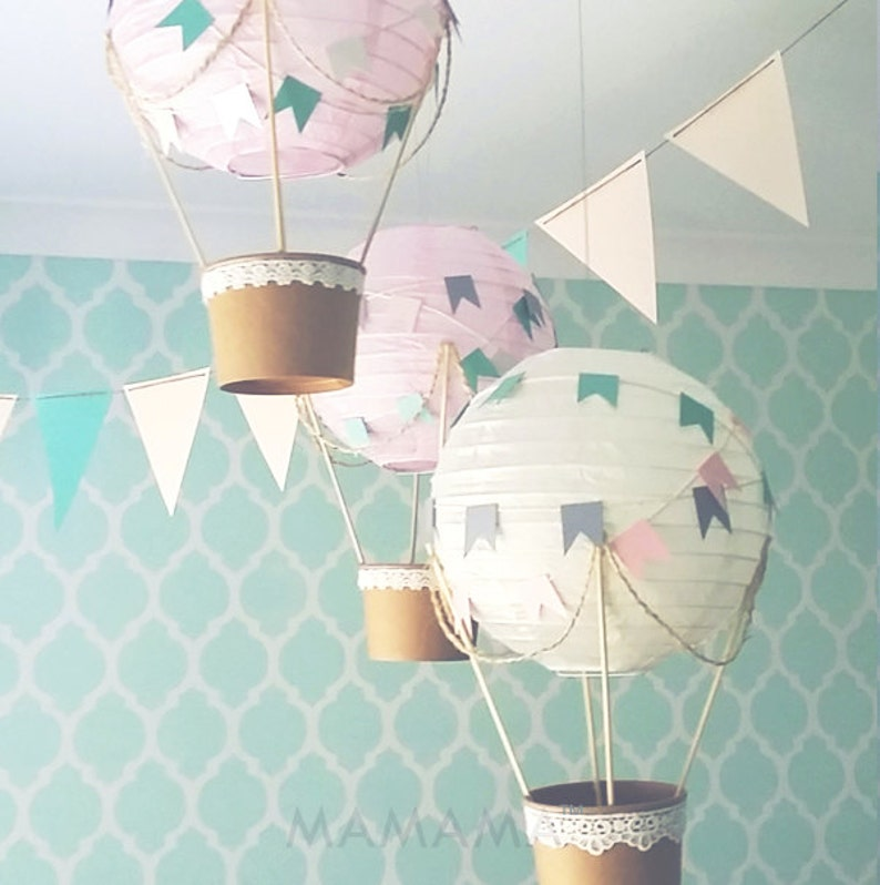 Whimsical Hot Air Balloon Decoration Diy Kit Pink Cream Etsy