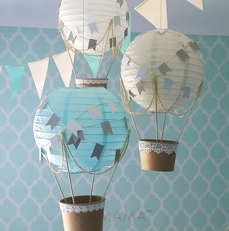 Whimsical Hot Air Balloon Decoration Diy Kit Blue Grey White Etsy
