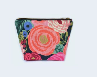 Small Flat Psychedelic Floral Collage Zipper Pouch Coin Purse