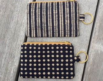Leather Coin Purse Keyring present. teacher Black gift Gold zip