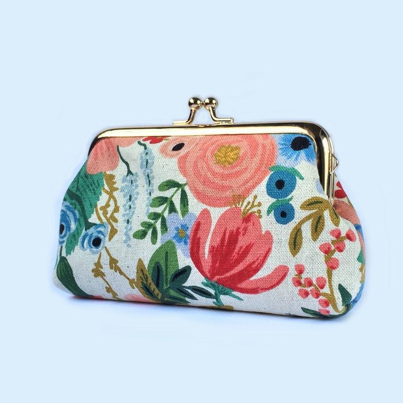 c0ba70c8d763 Kisslock Wallet Card Holder, Floral Clasp Purse, Bridesmaid Gift, Womens  Wallet, Change Purse