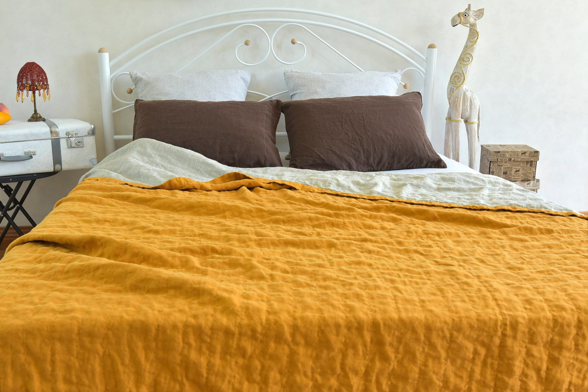 SUMMER Linen Organic Blanket Llax King Size Quilt StoneWashed Quilts Natural Llax Quilted Modern Eco Bedding Double Sided Bedspread Llax