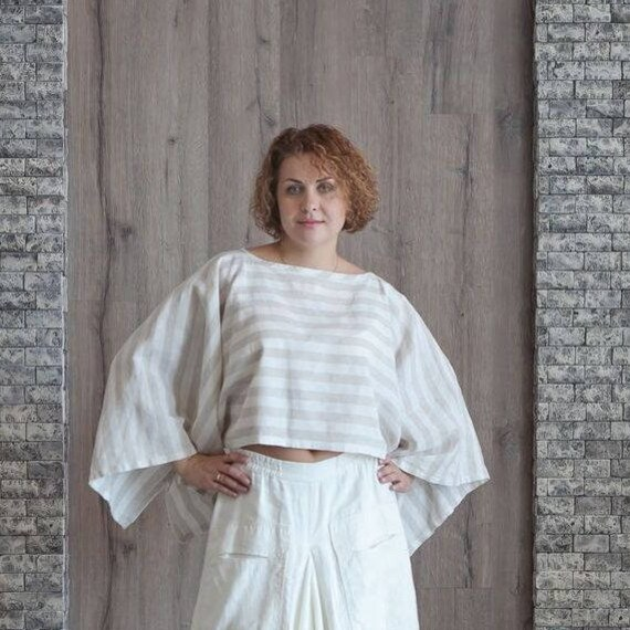 27b399ee2d7ae Linen Top Short Striped Linen Mini Dress Lounge Wear Oversize