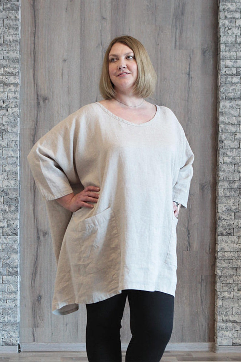 Plus Size Linen Tunic Oversize Top Off White Bohemian Stonewashed Linen Eco Friendly Loose Knee Length Shirt Kaftan Dress with Large Pockets