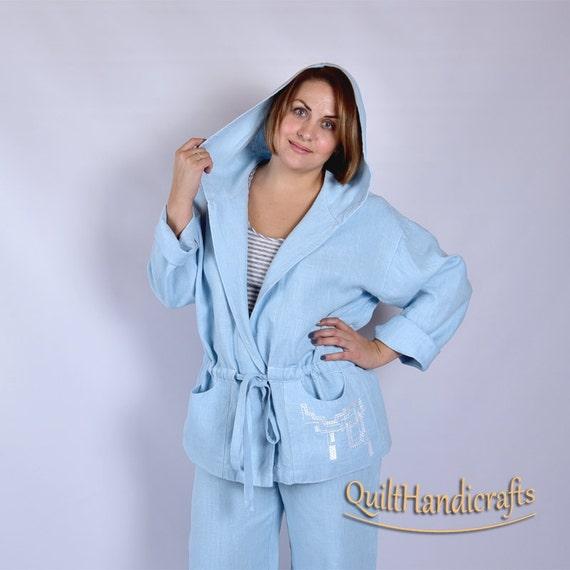 741c8b22297b4 Items similar to Women Plus Size Jacket Hooded Linen Jacket Stonewashed  Linen Lounge Wear Romantic Linen Jacket Ladies Lounge Wear Oversized Casual  Jacket ...