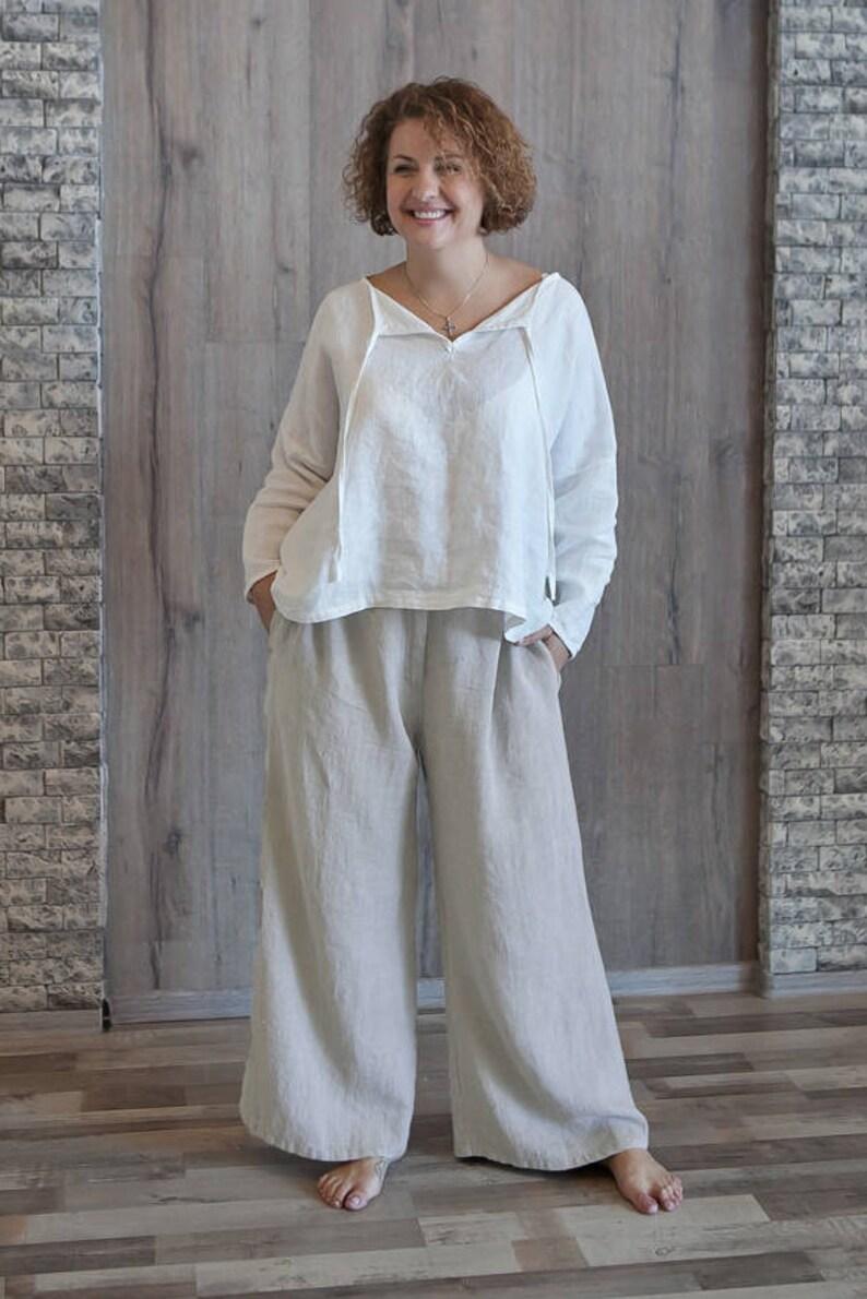 3ed9455c60 Women Baggy Linen Trousers Relaxed Lounge Wear Bohemian Linen