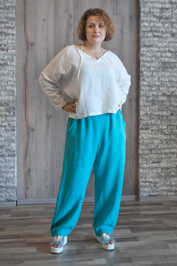 ec9b44639276f Wide Leg Linen Pants Blue Loose Baggy Pants Washed Linen Pants