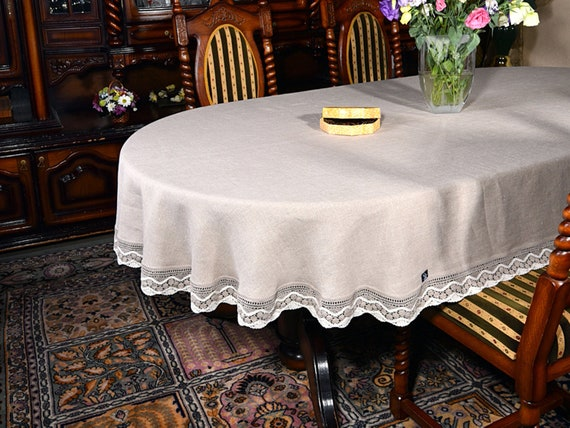 Etsy & Oval Linen Tablecloth Lace Tablecloth Dinner Table Linens Round Table Cover Country Side Chic Farmhouse Wedding Decor Picnic Table Topper