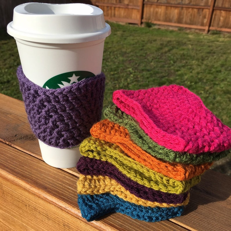 Wavy Crochet Coffee Cup Sleeves choose your color silky image 0