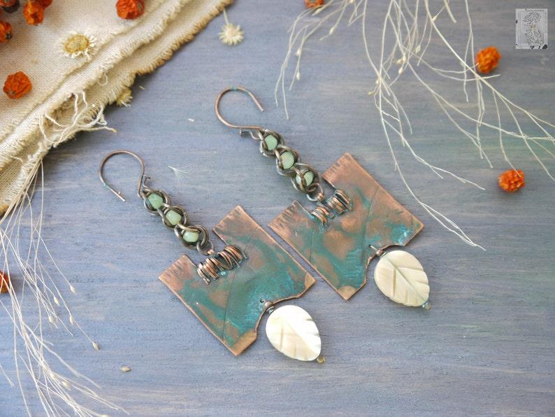 Artisan Jewelry Wire Earrings metalwork Copper Earrings Blue Crystals natural jewelry Earrings copper Metal Wire Wrapped Earrings