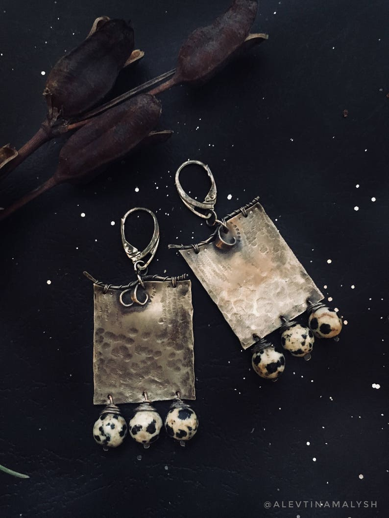 Square earrings nickel silver  natural stones women brown stone landscape jasper original design texture metal birthday present girlfriend