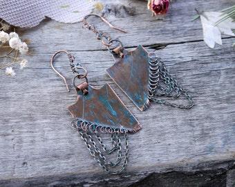 Earrings copper metalwork, stamped copper tab earrings - metalsmith artisan jewelry - copper metal metalwork  earrings,  rustic earrings