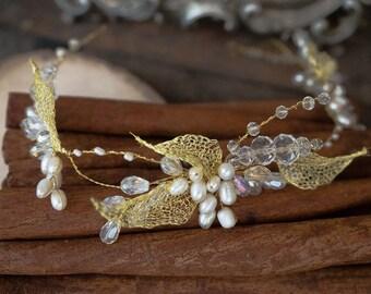 Wedding Golden Hair Vine, Bridal Hair Wreath
