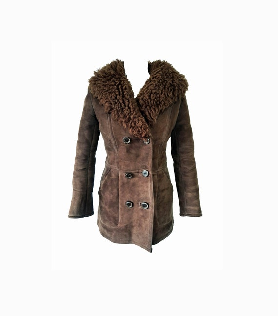 Vintage 70's shearling real suede fur unisex brown