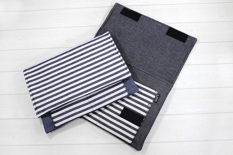 Laptop case, Macbook sleeve, Macbook Air sleeve, Macbook case 12 inch,  denim, 11 inch laptop case, stripe, gray, MacBook Air case, gift idea