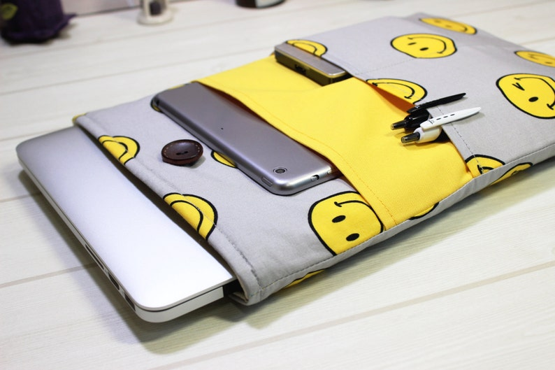 11 inch, Macbook case, Macbook Air sleeve, Macbook sleeve, smiley, laptop  sleeve, 12 inch, yellow, gray, gift, laptop case, MacBook Air case