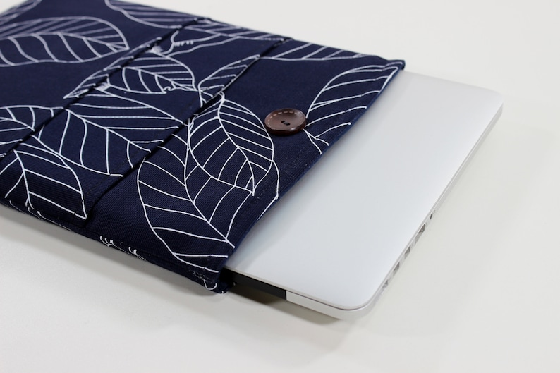 new concept 22bb3 aaaec MacBook Air sleeve, 13 inch, laptop case, MacBook Pro case, navy blue, leaf  print, laptop pouch, laptop sleeve, MacBook case, MacBook sleeve