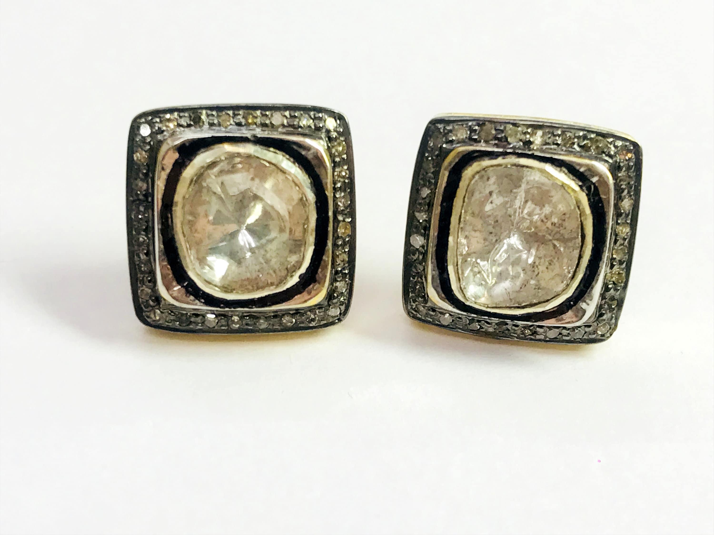 VINTAGE DIAMONDS STUD Earrings finest antique artNatural