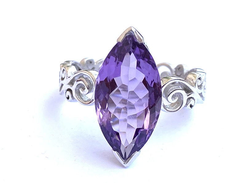 AMETHYST SOLITAIRE RING  Ready to ship  February birthstone image 0