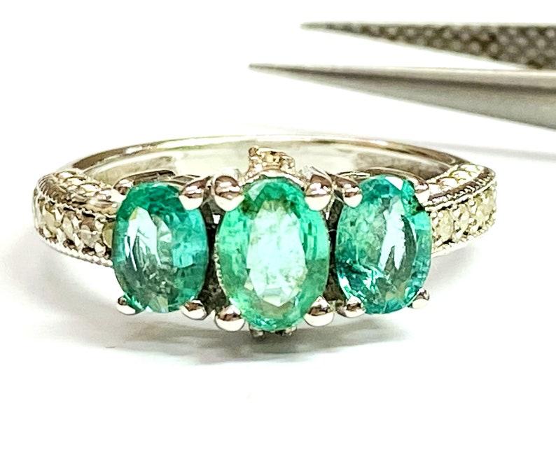 Emerald and Diamond Ring Emerald Engagement Ring Anniversary image 0