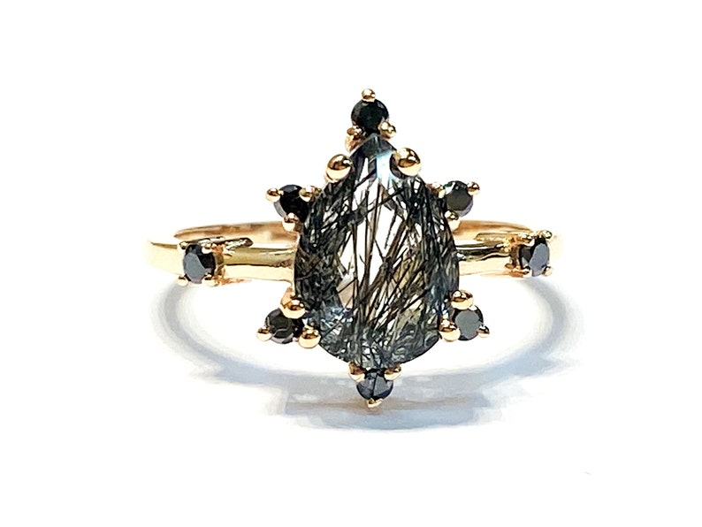 10k Rose Gold  Black Rutiliated and Black Diamond Engagement image 0