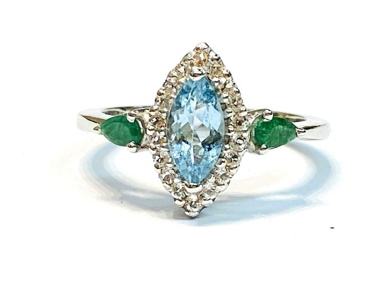 EMERALD AQUAMARINE DIAMOND Engagement ring  Wedding band  image 0