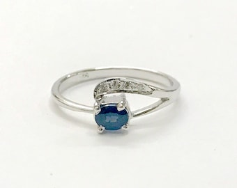 NATURAL BLUE SAPPHIRES with single cut Diamonds ,sterling silver ring , gold sapphires ring ,Blue Birthstone, September Birthstone, neelam