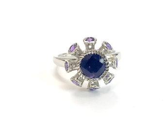 NATURAL AMETHYST FLOWER Ring ,February birthstone , purple amethyst , Flower Design ,Valentine's day Gift,