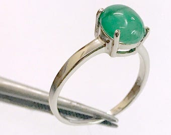 100% NATURAL EMERALD CABOCHON ,oval shape ,May birthstone, Promise ring for her,silver emerald ring,emerald cabochon