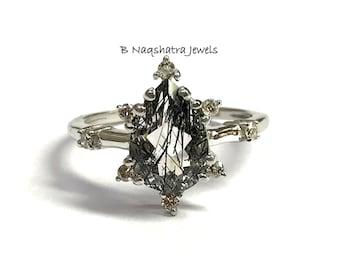BLACK RUTILIATED QUARTZ  Engagement Ring - Anniversary gift - Super Fine Rutile Quartz , Gemini & Taurus Gems