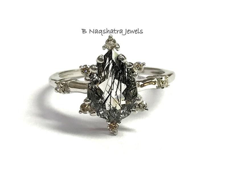 BLACK RUTILIATED QUARTZ  Engagement Ring  Anniversary gift  image 1
