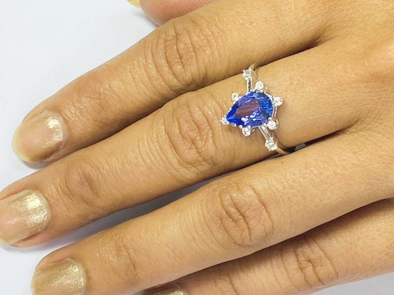 TANZANITE DIAMOND WEDDING Ring  Sagittarius Birthstone  image 0