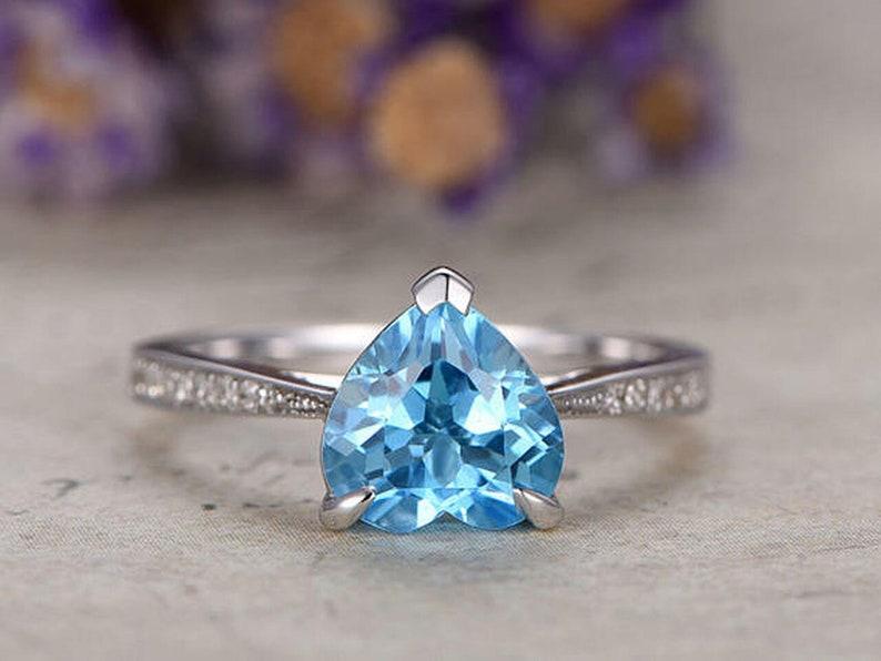 Heart Shaped BLUE TOPAZ DIAMOND  Engagement ring   Solid 14k image 0