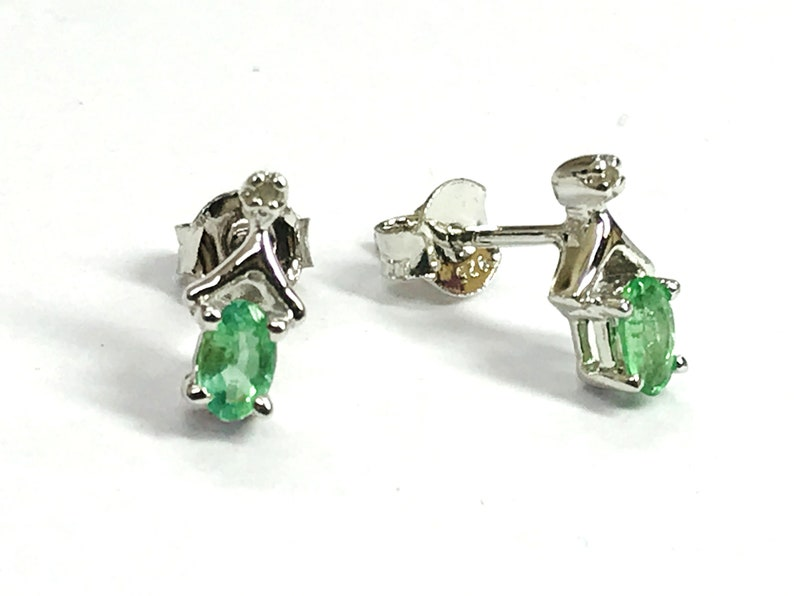 TINY EMERALD DIAMONDS Stud earrings Natural Diamonds,Green Beryl earrings,Natural Emerald,Gift for loved ones .. May birthstone