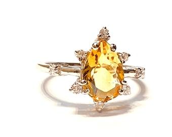CITRINE DIAMOND 925 Sterling Silver ring , November Birthstone , Yellow Crystal , Golden Quartz Ring .