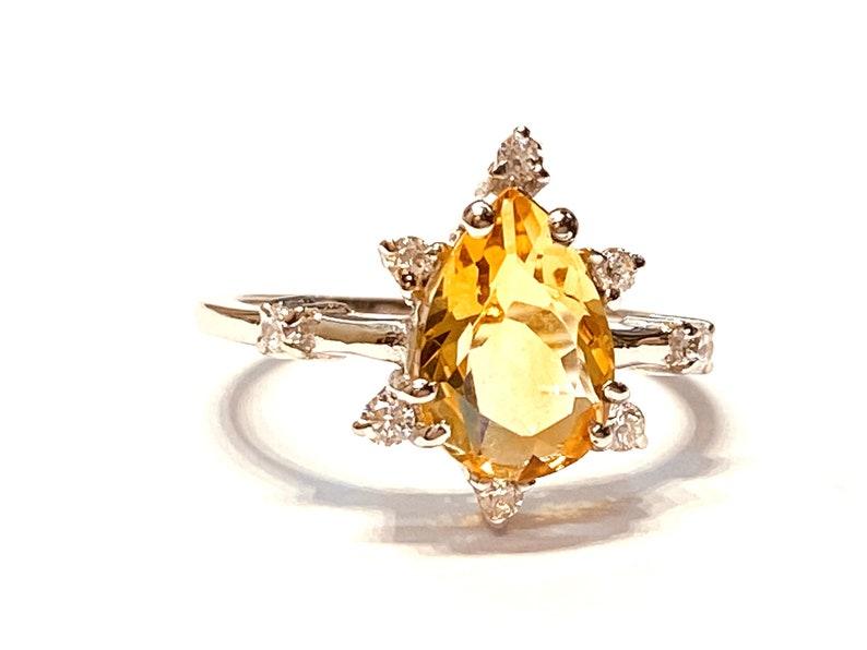 CITRINE DIAMOND 925 Sterling Silver ring  November Birthstone image 0