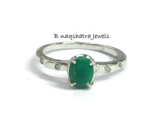 EMERALD DIAMOND RING, May birthstone , emerald cut ring, Green Beryl , Zambian emerald . promise ring for her