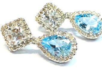 6ct Blue Topaz/.93ct Diamond Halo Earrings , 14K WHITE GOLD , Topaz Gemstone ,December Birthstone , Statement Earrings