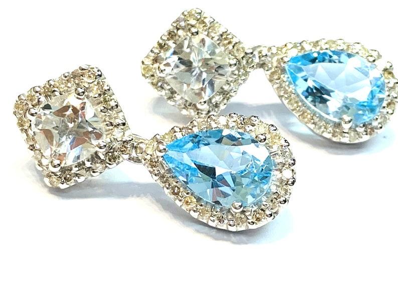 6ct Blue Topaz/.93ct Diamond Halo Earrings  14K WHITE GOLD  image 0
